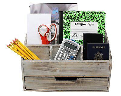Vintage Rustic Wooden Office Desk Organizer Mail Rack For Desktop Tabletop