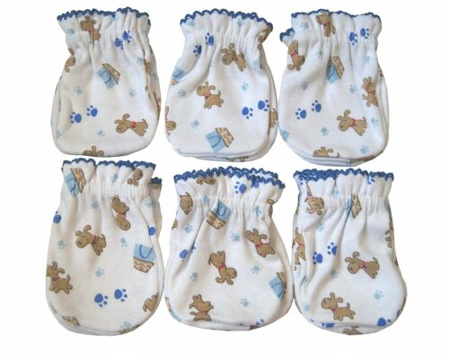 6 Pairs Newborn Baby/infant Anti-scratch Mittens Gloves - 100% Cotton - Cute Dog
