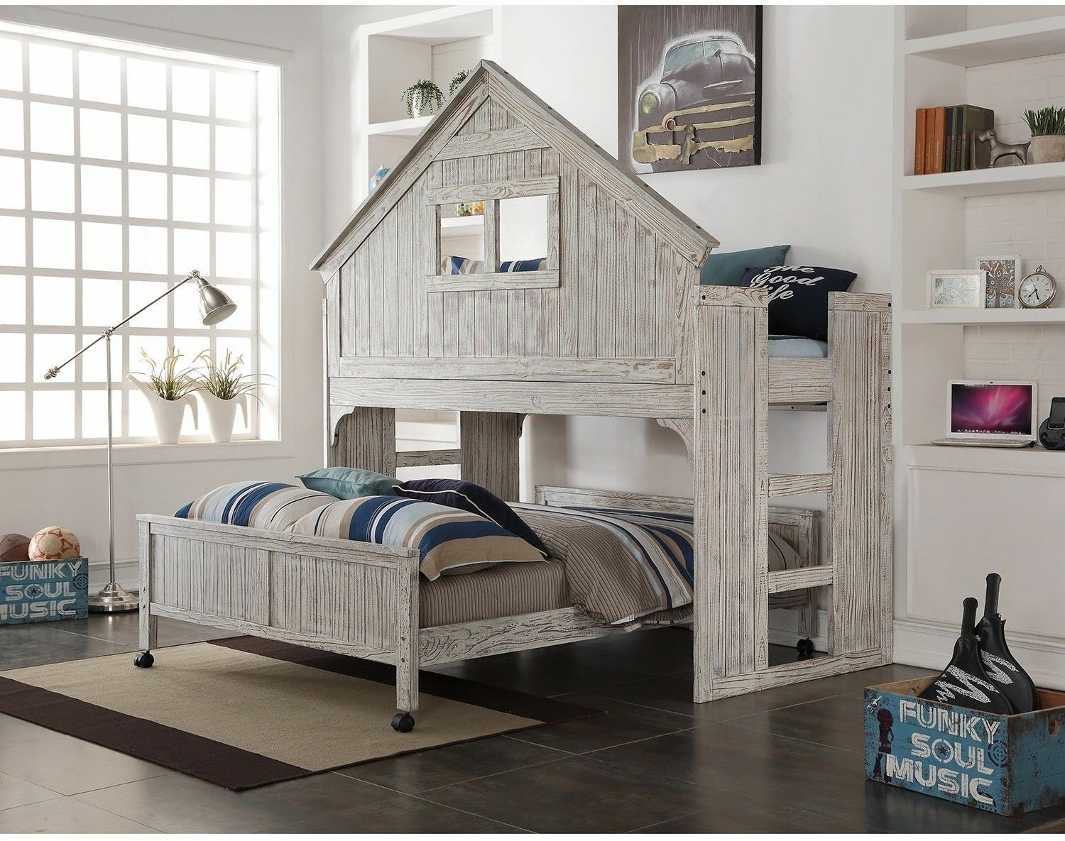 Kids Full Size Bed W Loft Clubhouse Brushed Driftwood