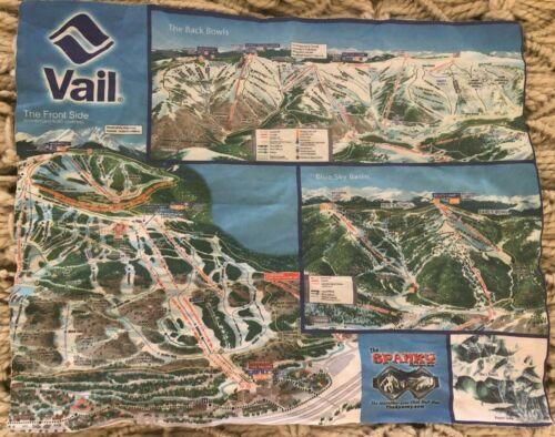 "Vail Ski Map Microfiber Lens Cloth Front Side 13.5 x 11"" SOFT Spanky Goggle Clnr"