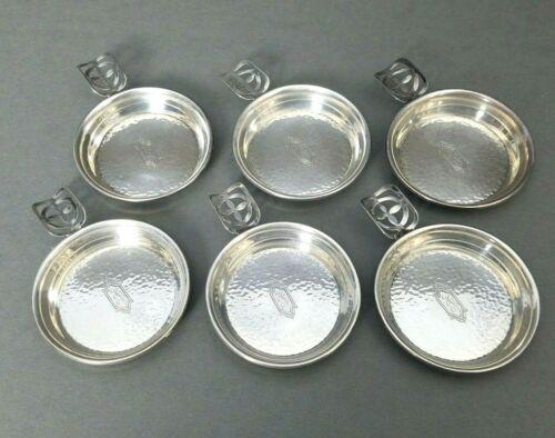 Ashtrays Set of 6 Sterling Silver Individual Webster Hand Hammered Vintage