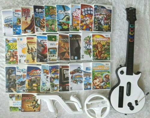 Wii 30 GAME LOT Variety Bundle w/ Guitar, Steering Wheel, Zapper w/ Nunchuk