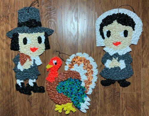 3 Vintage Melted Plastic Popcorn Decorations Pilgrims & Turkey Thanksgiving