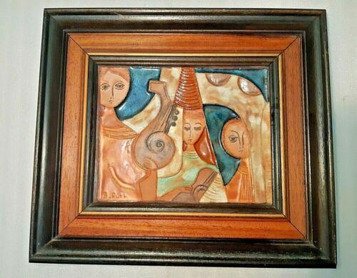 VTG ISRAEL FRAMED RUTH FAKTOR MID CENTURY ART POTTERY TILE CERAMIC CHARACTERS