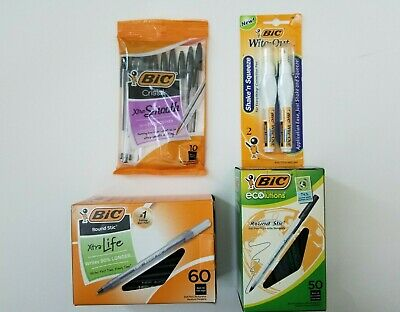Bic Pen Lot. Black Pensxtralife Xtrasmooth Round Stic Ecolution White Out