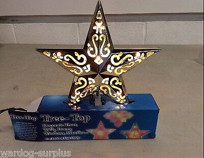 CHRISTMAS HOLIDAY TREE-TOP TOPPER SILVER LIGHT UP DECORATIVE INDOOR STAR USE NEW - Holiday Tree Topper