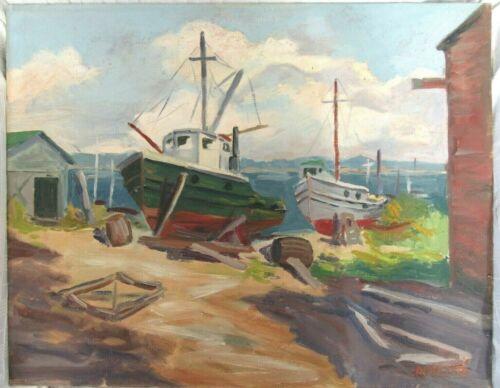 Big Vintage Oil Painting Folk Art Country Primitive Boat Beach Nautical Marina