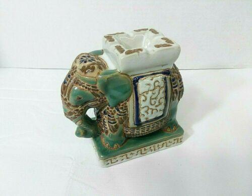 Ceramic Elephant Figurine Vintage Ashtray Incense Burner