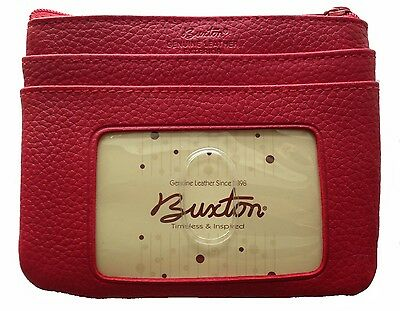 New Buxton Women's ID Coin Purse Card Case Wallet - RED