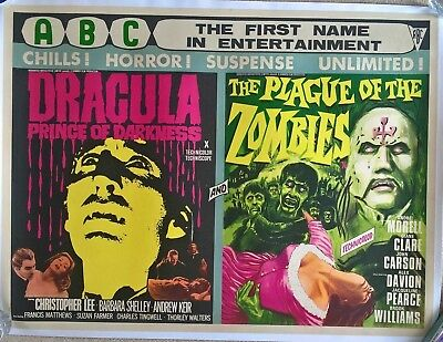 DRACULA PRINCE OF DARKNESS/ PLAGUE OF THE ZOMBIES   -1966 UK QUAD  DOUBLE BILL