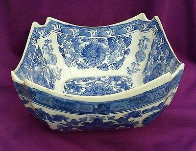 Unique, large Oriental Square Blue-and-White Bowl