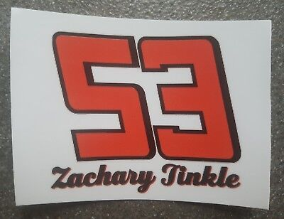 Aufkleber # 53 Zachary Tinkle USA Nascar Nachwuchsfahrer Weltklasse Rarität!
