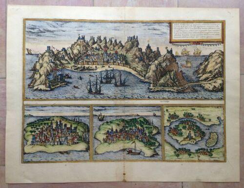 ADEN MOMBASA QUILOA SOFALA 1572 BRAUN HOGENBERG 16e CENTURY LARGE ENGRAVED VIEW