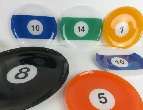 Billiards 6 Piece Serving Tray w/ Snack Plates Pool Mancave Barware 8 Ball