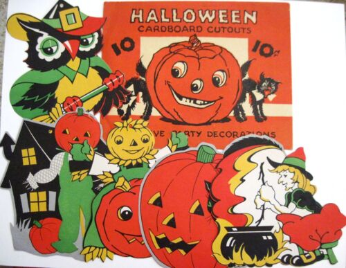 "Vintage ""Halloween"" Envelope w/ 5 Halloween Card Stock Decorations   *"