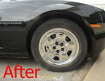 Chevy Camaro 18 Black Steel Wheel Chrome Hubcaps Covers Skin Set W/ Center Caps