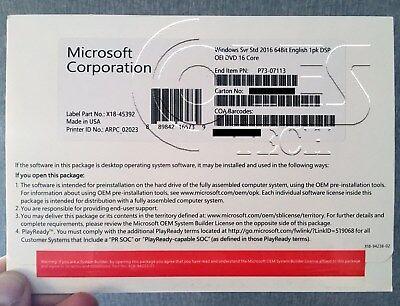Microsoft Windows Server 2016 STANDARD 2CPU/16 cores BRAND NEW OEM PACK