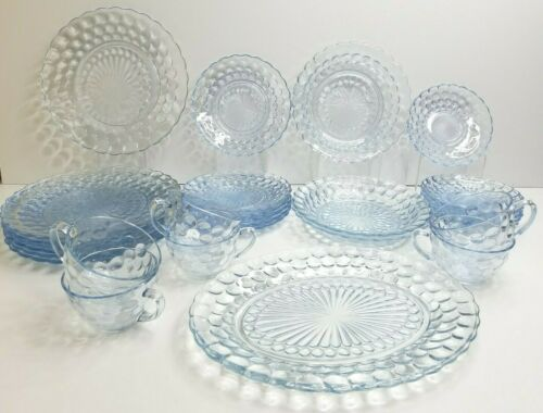 29 Blue Bubble Anchor Hocking 7 Dinner 6 Bread 3 Bowl 6 Cups 6 Saucers 1 Platter