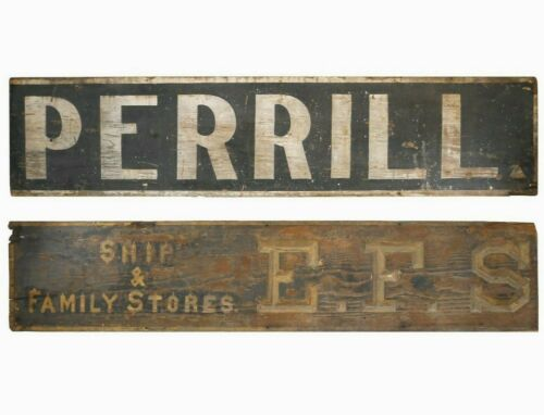 MID-19TH C AMERICAN ANTIQUE LG 2-SIDED B & W/GILT PNTD WOOD SIGN, PERRILL/E.F.S.