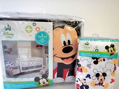 Disney Baby Mickey Mouse Pluto 5 Piece Baby Crib Bedding Set Bonus Crib -