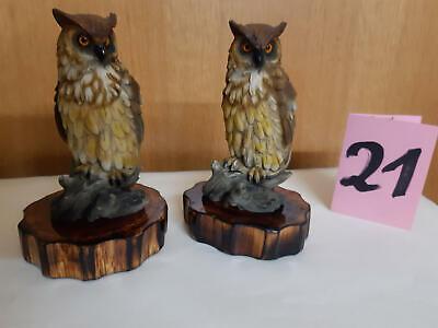 Holzfigur Eule Uhu 4 Stück Set handgeschnitzt handbemalt ca 8,0 cm Kauz Wald