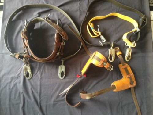"Bashlin lineman Pole climbing Gear w/adjt 3""Spikes, belts 22//24/25/28 w/Acs."