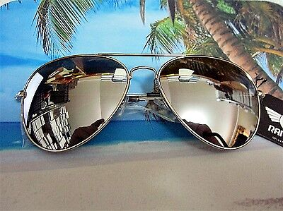 Large Aviator Sunglasses Silver Mirror Lens Men's Women's Vintage Frame Retro (Silver Sunglasses Womens)