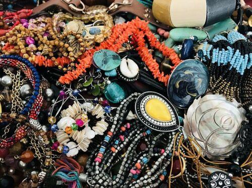 Huge Lot Junk Drawer Jewelry 8 lbs Vintage Modern Craft Repurpose Repair