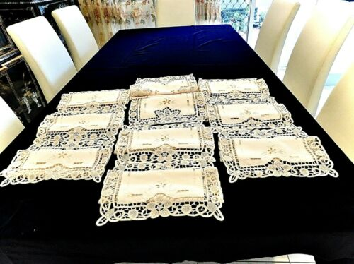 FABULOUS VINTAGE HANDMADE NEEDLE LACE POINT DE VENISE TABLE RUNNER 8 TABLE MATS