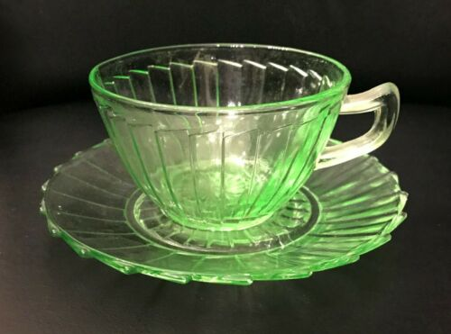 Sierra Pinwheel Green Depression Glass Cup and Saucer