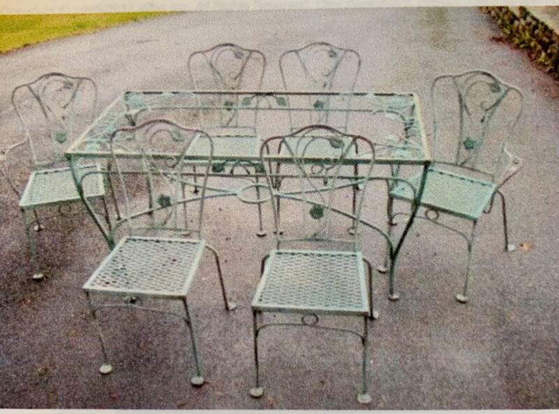 Gorgeous Vintage  John Salterini 7 Piece Table & Chairs in Wrought Iron