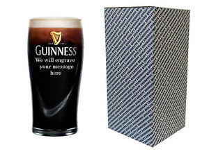 PERSONALISED ENGRAVED PINT BEER GLASS - GUINNESS GIFT