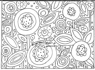 Rug Hooking Craft Paper Pattern BRIGHT BLOOMS Folk Art PRIMITIVE Karla Gerard ()