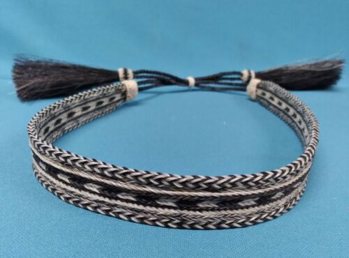 """Cowboy Hat Hatband Hand Made Hand Hitched Horse Hair 7/8"""" Wide Off White & Black"""