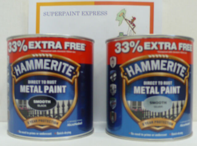 Hammerite Smooth Metal Paint 750ml + 33%  Black or Silver 1 litre SP OFFR 1L, LT