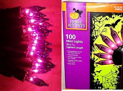 100 Purple Mini String Lights- Black Wire Bright 20.7' Party Halloween Retro New