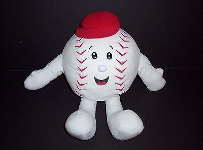"15"" Build A Bear White Red Mr Baseball Plush Stuffed Animal BABW"