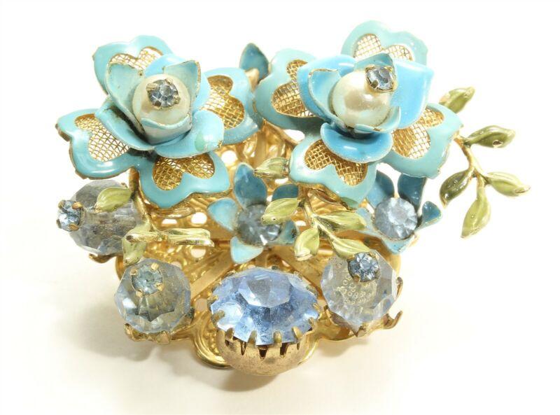 Vintage Lisner Mid Century Blue Enamel Crystal Rhinestone Floral Brooch Pin