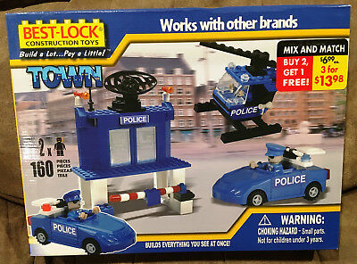 BEST-LOCK Construction Toys TOWN Police Set 160 Pieces SEALED, NEW IN BOX