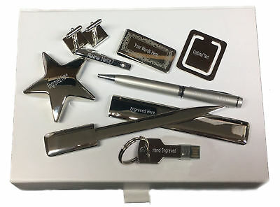 Box Set 8 USB Pen Star Cufflinks Post Repper Family Crest Engraved 2125 Usb