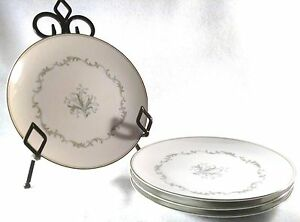 4 NORITAKE China CHAUMONT 6008 Dinner Plates JAPAN Platinum Edging DINNERWARE