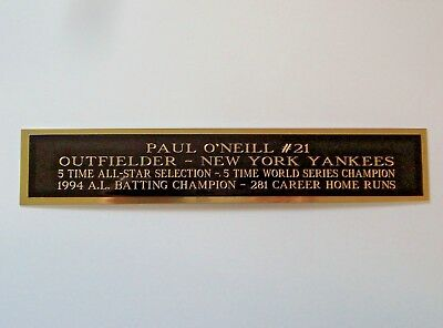 Paul O'Neill Yankees Autograph Nameplate For A Signed Baseball Bat Case 1.5 X 8