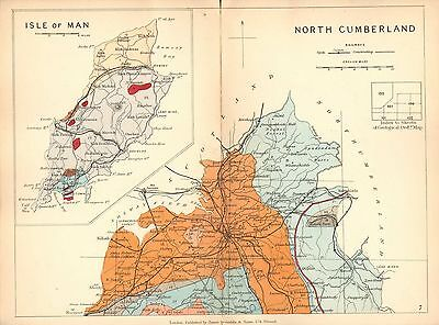 1889 HAND COLOURED GEOLOGICAL MAP NORTH CUMBERLAND ISLE OF MAN CARLISLE GEOLOGY