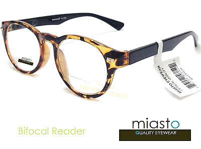 ~LOT OF 2~ MIASTO UNISEX BIFOCAL RETRO ROUND READER READING GLASSES GLASSES+1.25