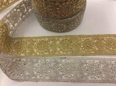 Fancy Pearl Bridal Lace Trim Ribbon Sewing On Craft Wedding Sari, dresses 1METER Fancy Lace Trim