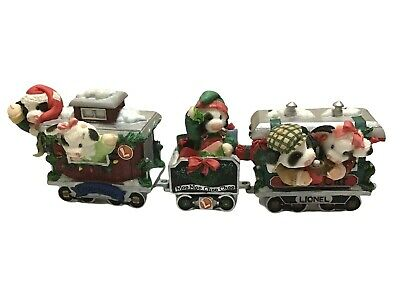 Marys Moo Moos 3pc Lionel Christmas Train Set Enesco 3 Pieces Retired