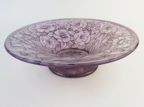 Phoenix Consolidated anemones floral wide footed bowl Art Deco lavender purple