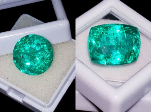 Certified Loose Gemstones Natural Emeralds 8 to 10 Cts 2 Pieces RK59