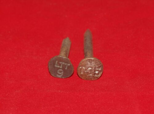 2 ANTIQUE VINTAGE RAILROAD DATE NAIL STEEL LTT 9 T35 LINCOLN TELEPHONE