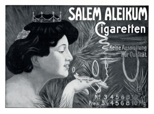 Princess & Salamander 1909 ad Salem Aleikum cigarettews advertising gecko crown